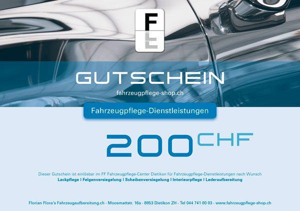 FF Geschenk-Gutschein FAHRZEUGPFLEGE 200.00